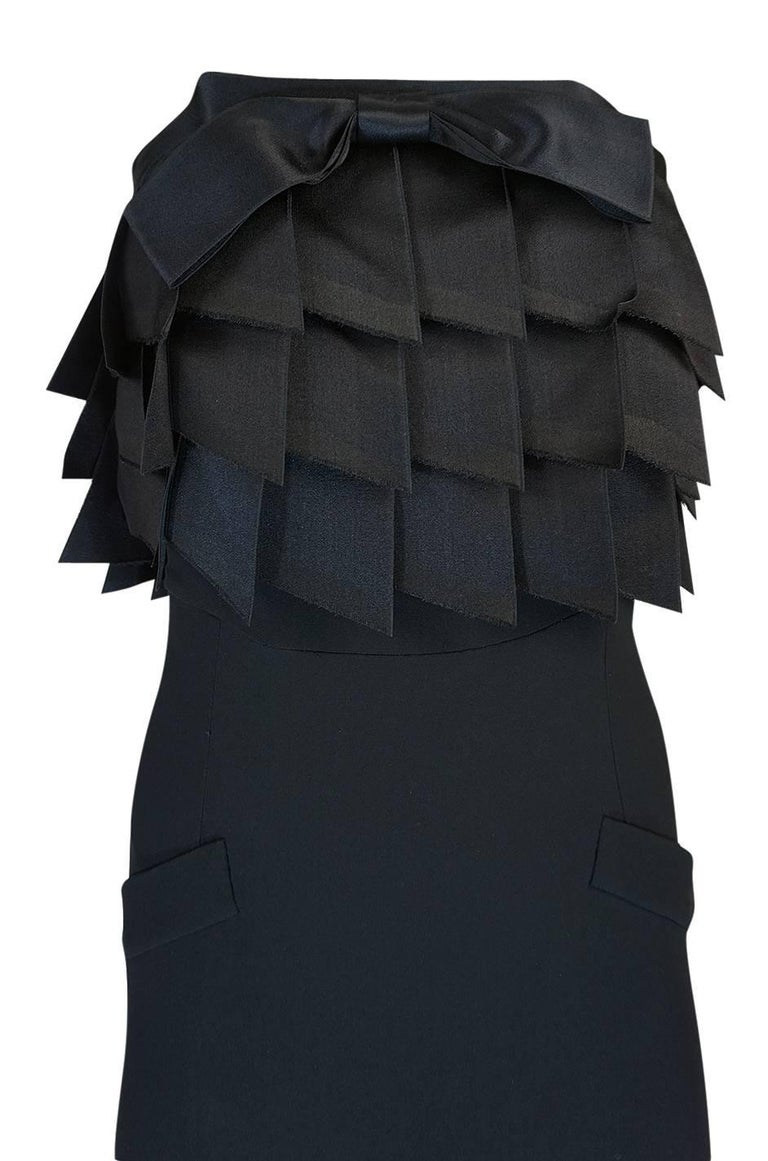Black s/s 1987 Chanel Fitted Strapless Dress w Layered Silk Ribbon Detail For Sale
