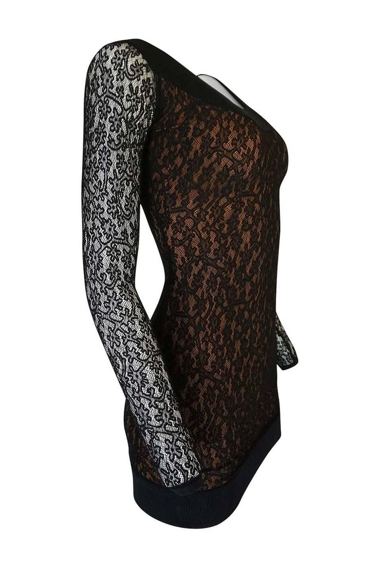 Documented F/W 1990 Azzedine Alaia Black Stretch Lace Dress In Excellent Condition For Sale In Toronto, ON