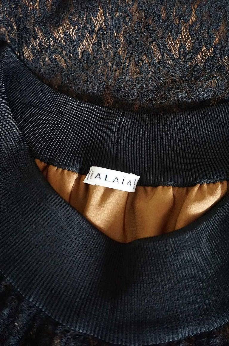Documented F/W 1990 Azzedine Alaia Black Stretch Lace Dress For Sale 3