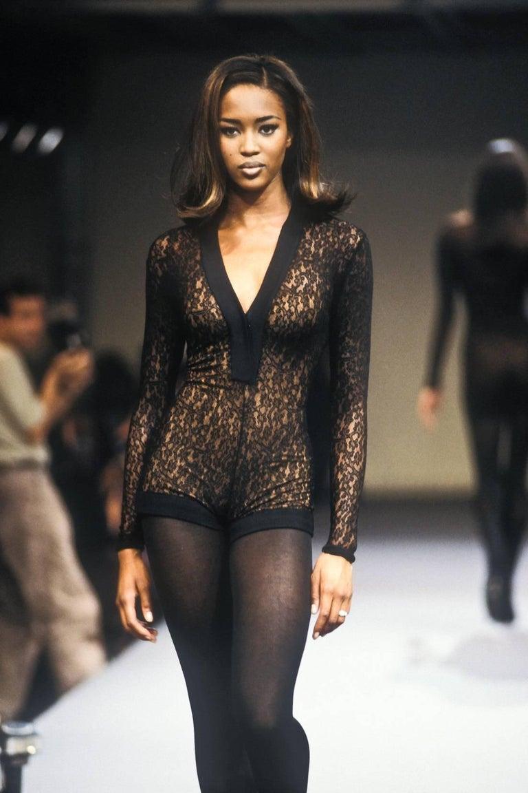 Documented F/W 1990 Azzedine Alaia Black Stretch Lace Dress For Sale 5