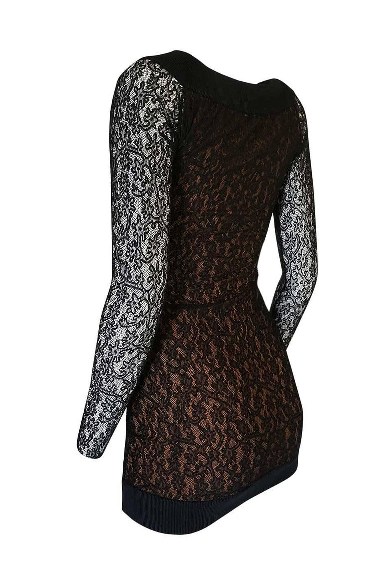 Documented F/W 1990 Azzedine Alaia Black Stretch Lace Dress For Sale 1