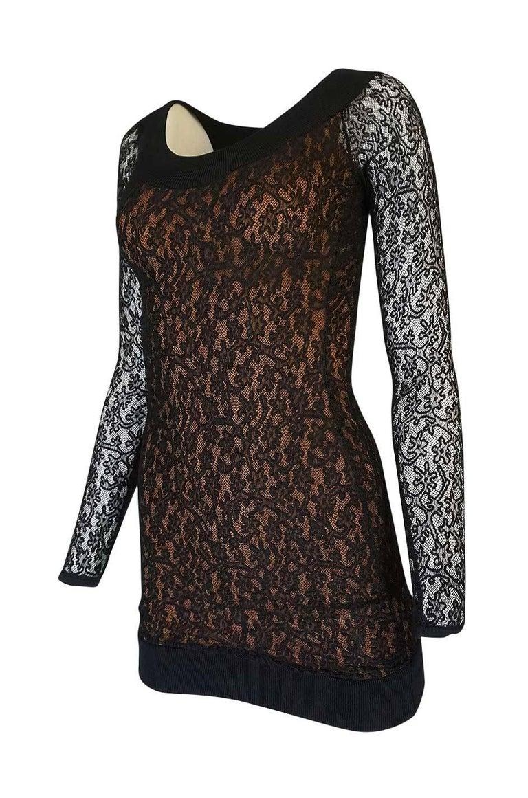 Women's Documented F/W 1990 Azzedine Alaia Black Stretch Lace Dress For Sale