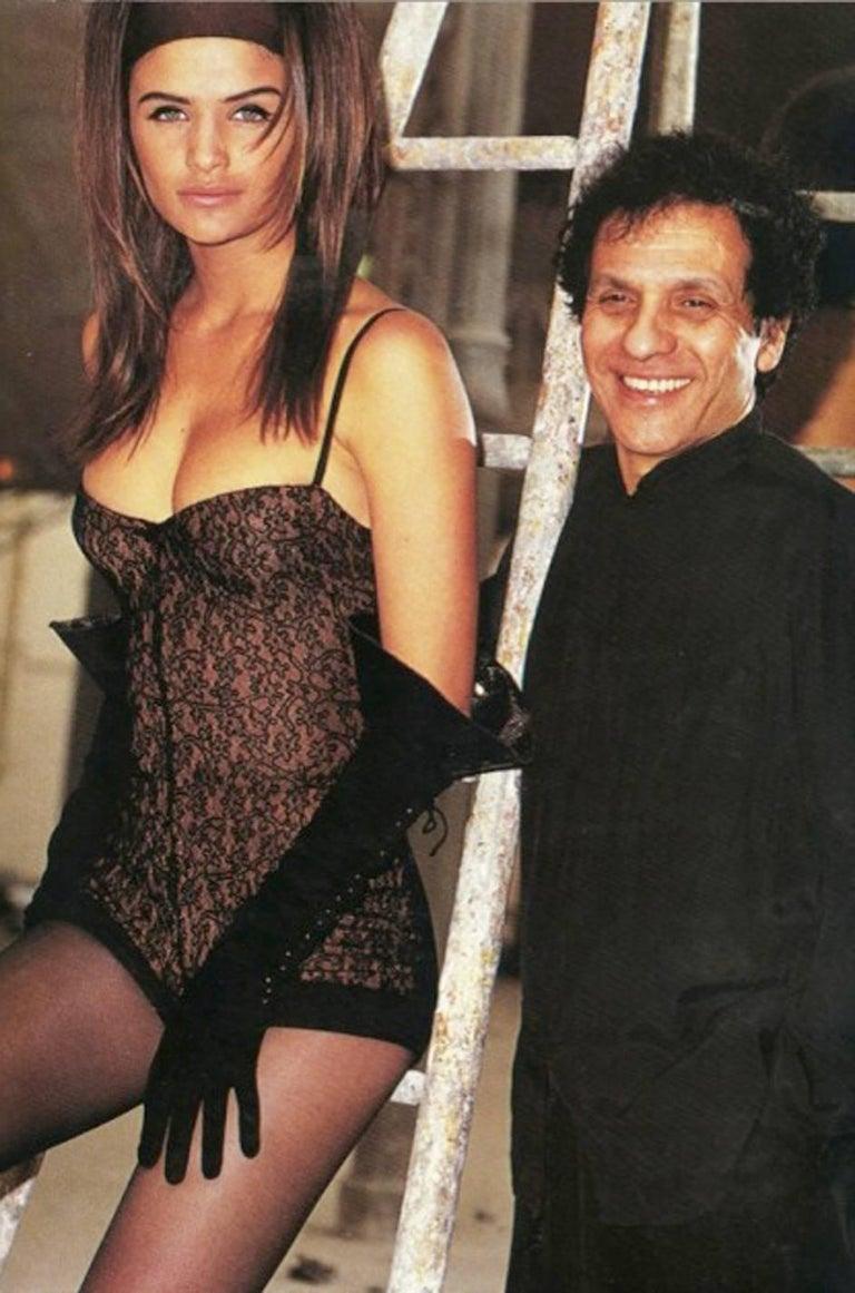 Documented F/W 1990 Azzedine Alaia Black Stretch Lace Dress For Sale 6