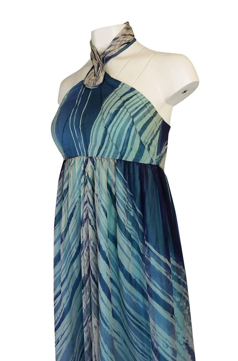 c.1974 Thea Porter Couture Documented 'Wave' Print Silk Chiffon Dress For Sale 3