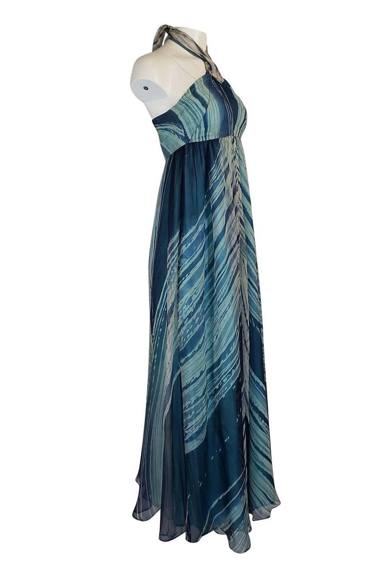 Blue c.1974 Thea Porter Couture Documented 'Wave' Print Silk Chiffon Dress For Sale