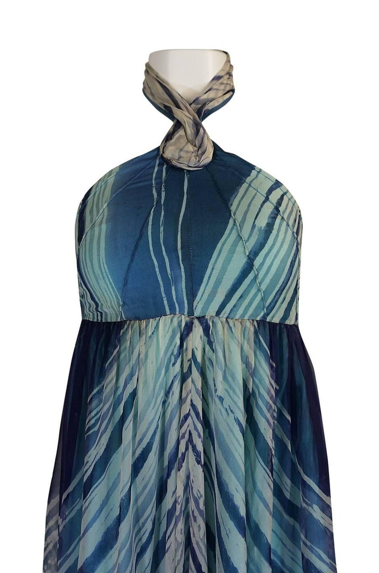 c.1974 Thea Porter Couture Documented 'Wave' Print Silk Chiffon Dress For Sale 2