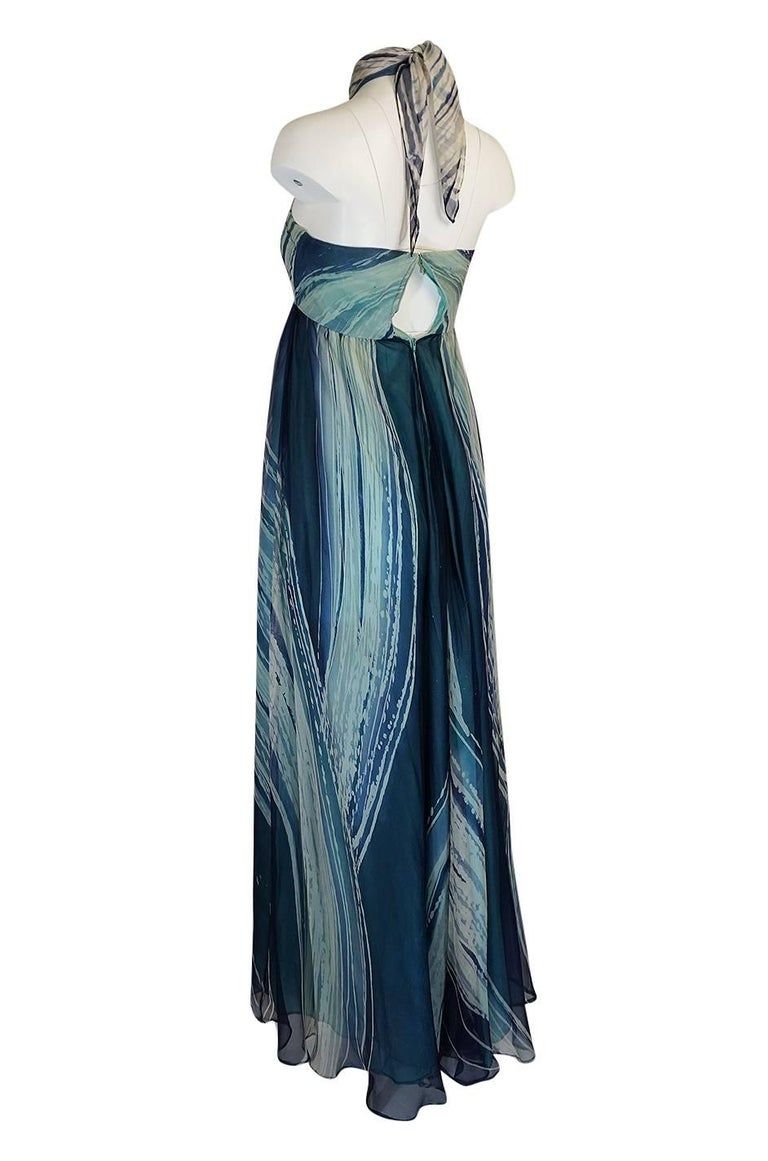 c.1974 Thea Porter Couture Documented 'Wave' Print Silk Chiffon Dress For Sale 1