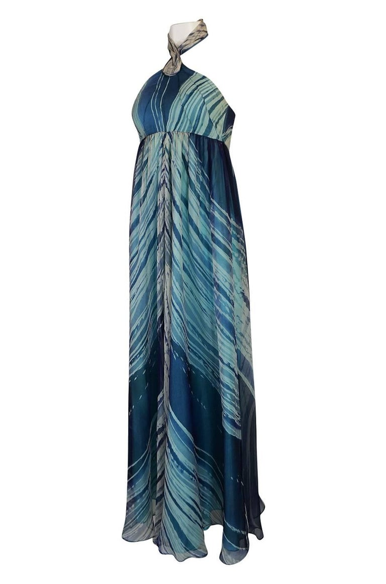 Women's c.1974 Thea Porter Couture Documented 'Wave' Print Silk Chiffon Dress For Sale