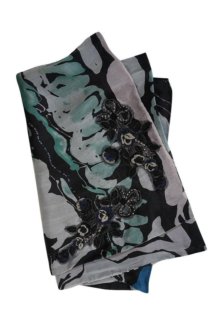 S/S 2007 Christian Lacroix Blue Strapless Dress & Shawl w Applique For Sale 4