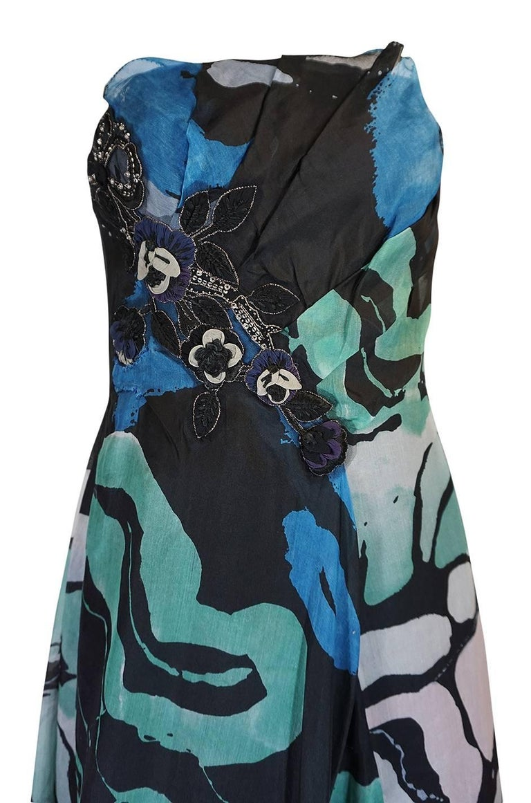 S/S 2007 Christian Lacroix Blue Strapless Dress & Shawl w Applique In Excellent Condition For Sale In Rockwood, ON