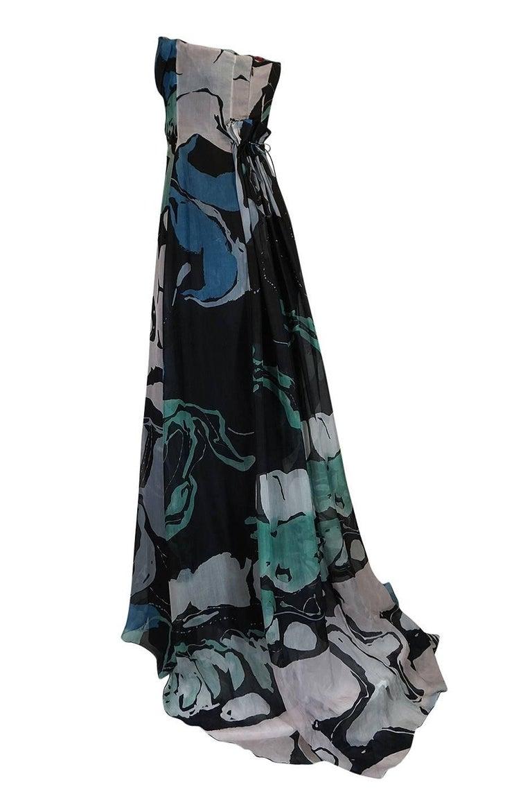 Black S/S 2007 Christian Lacroix Blue Strapless Dress & Shawl w Applique For Sale