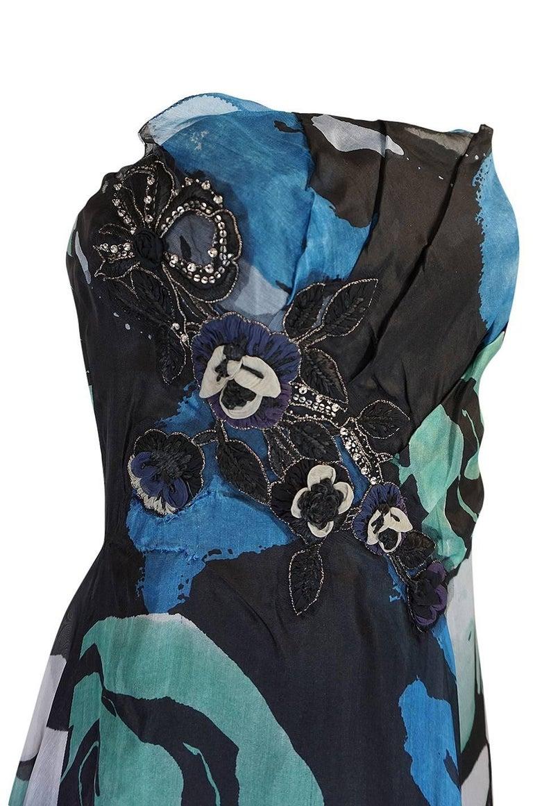 Women's S/S 2007 Christian Lacroix Blue Strapless Dress & Shawl w Applique For Sale