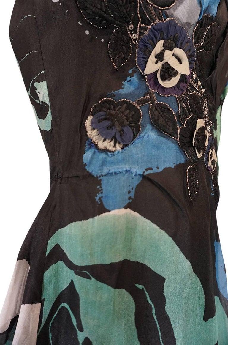 S/S 2007 Christian Lacroix Blue Strapless Dress & Shawl w Applique For Sale 1