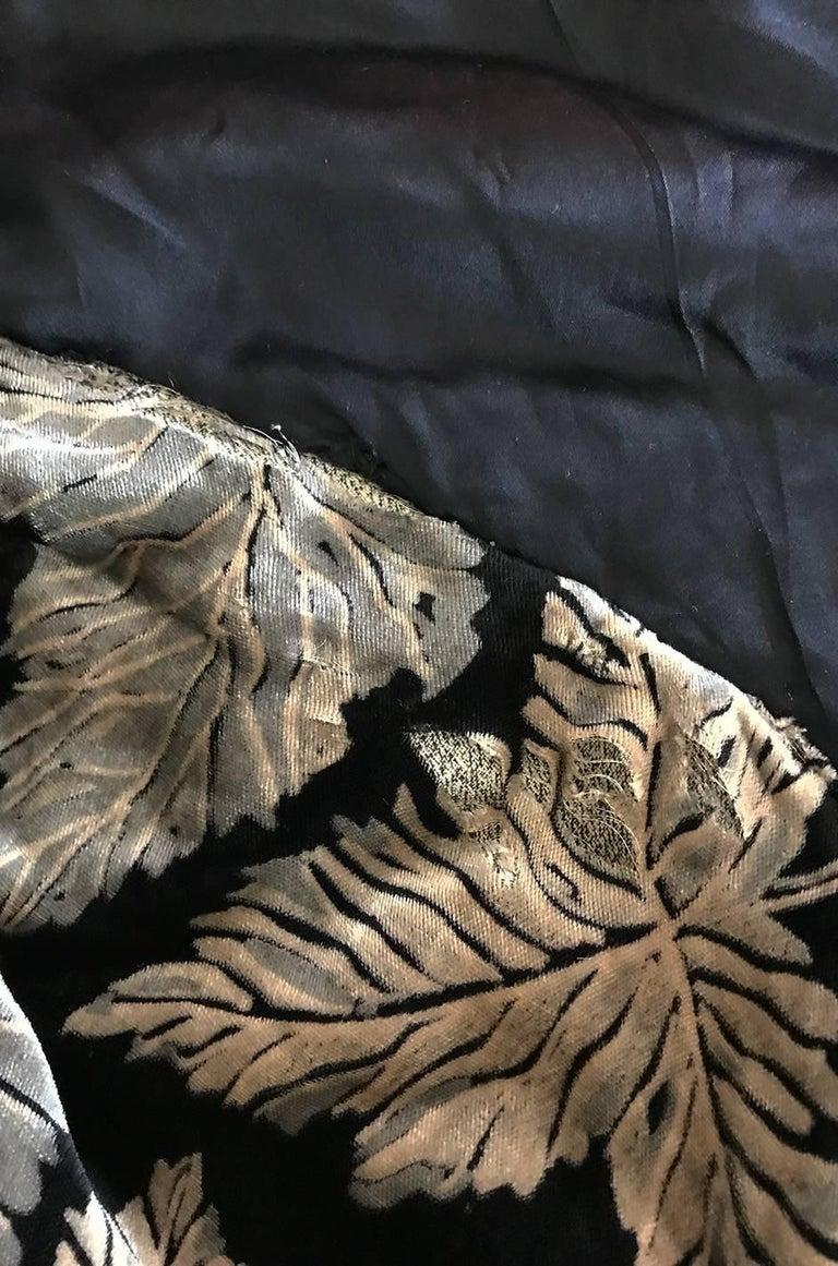 Extraordinary 1920s Evening Velvet & Feather Flapper Coat Cape For Sale 3