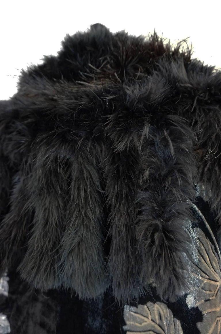 Extraordinary 1920s Evening Velvet & Feather Flapper Coat Cape For Sale 2