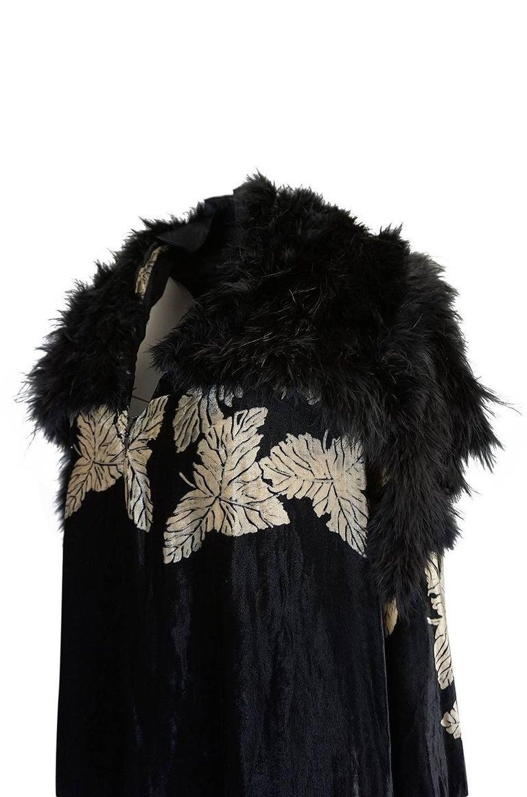 Women's Extraordinary 1920s Evening Velvet & Feather Flapper Coat Cape For Sale