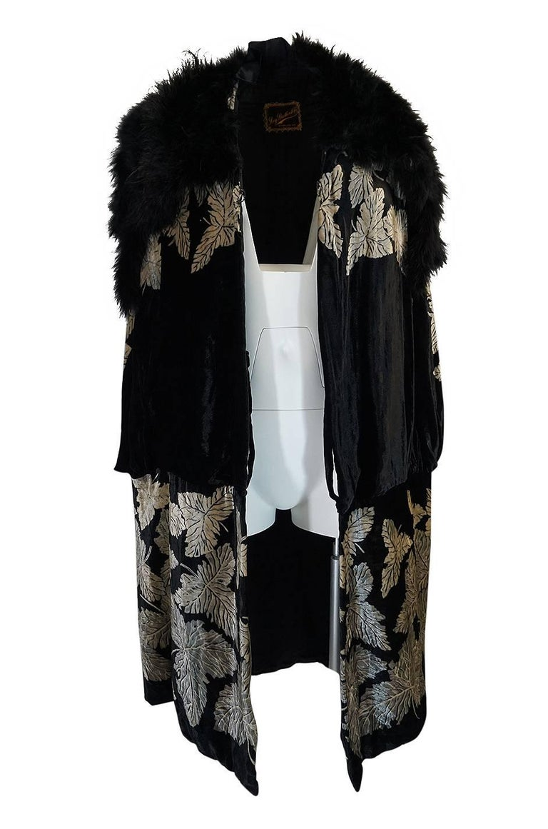 Black Extraordinary 1920s Evening Velvet & Feather Flapper Coat Cape For Sale