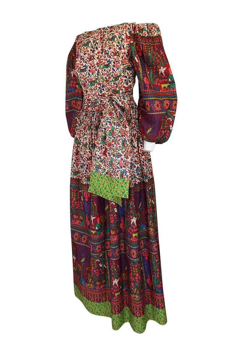 Black 1960s Richilene Elaborately Printed Off Shoulder Silk Dress For Sale