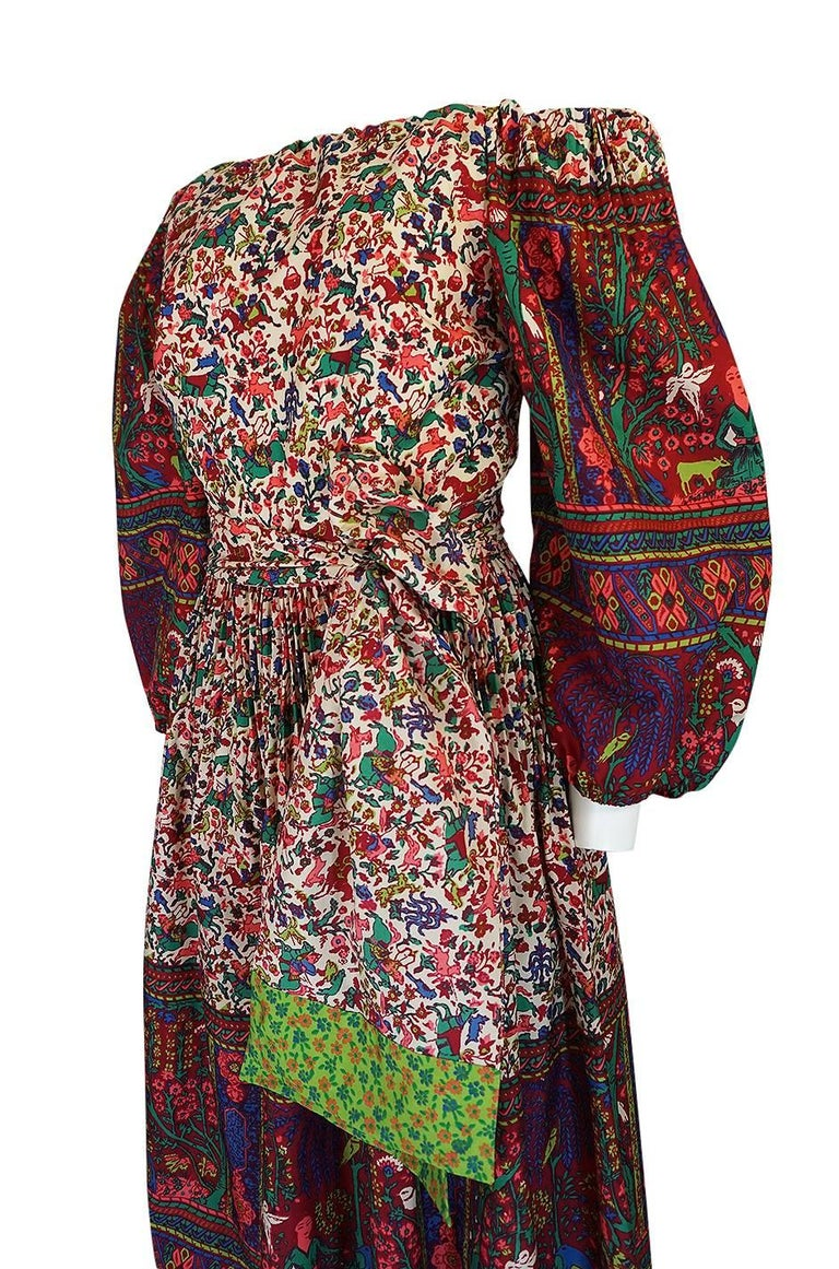 1960s Richilene Elaborately Printed Off Shoulder Silk Dress For Sale 1