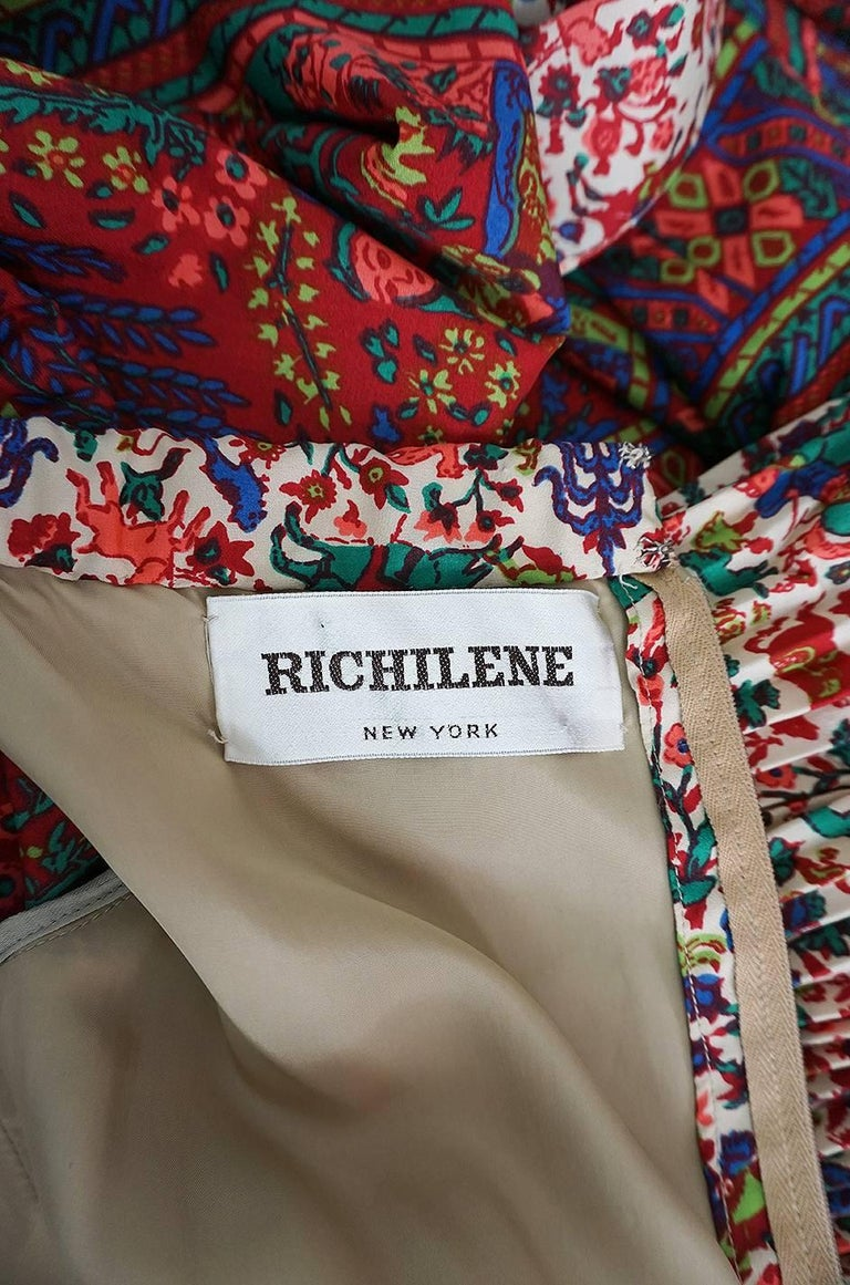 1960s Richilene Elaborately Printed Off Shoulder Silk Dress For Sale 4