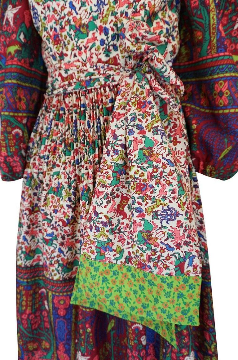 1960s Richilene Elaborately Printed Off Shoulder Silk Dress For Sale 2