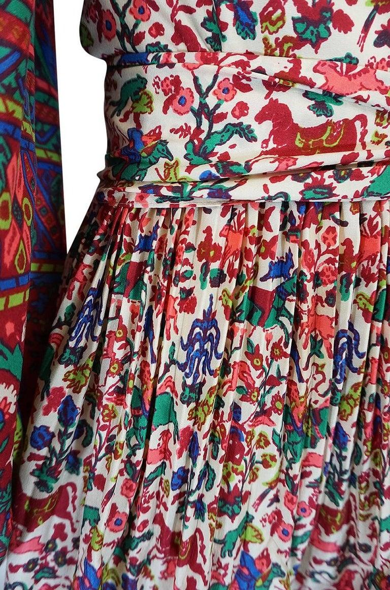 1960s Richilene Elaborately Printed Off Shoulder Silk Dress For Sale 3