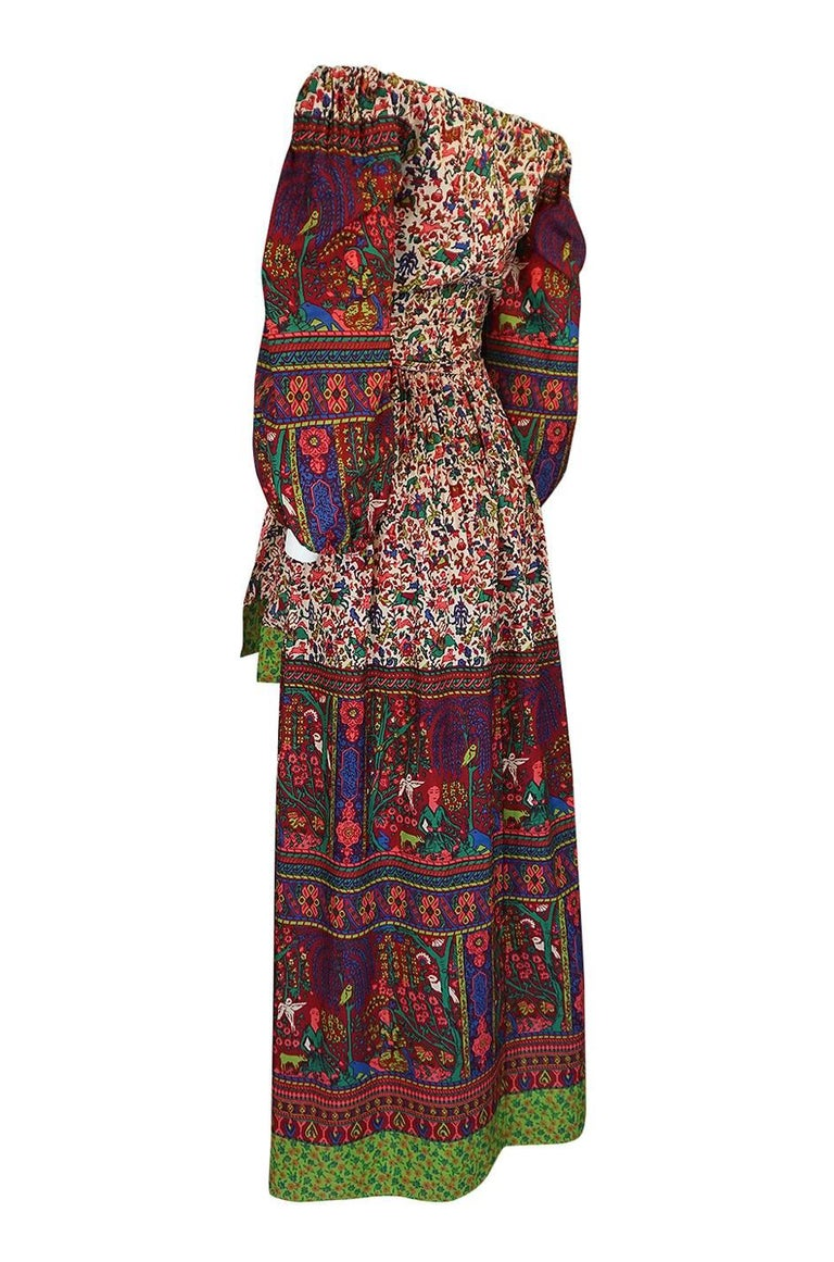 1960s Richilene Elaborately Printed Off Shoulder Silk Dress In Excellent Condition For Sale In Rockwood, ON