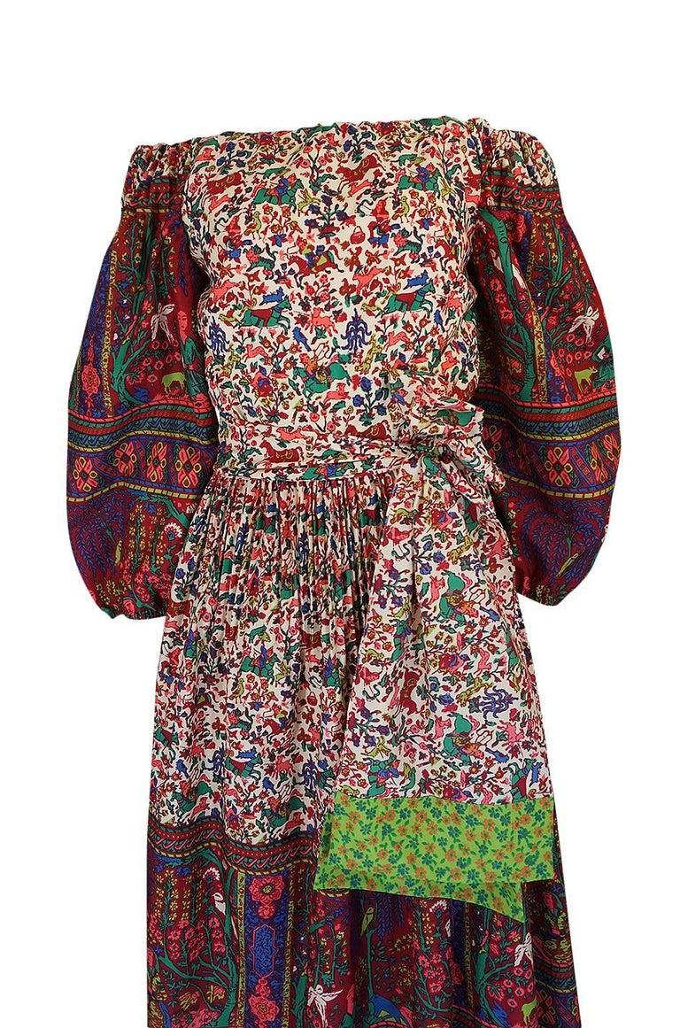 Women's 1960s Richilene Elaborately Printed Off Shoulder Silk Dress For Sale