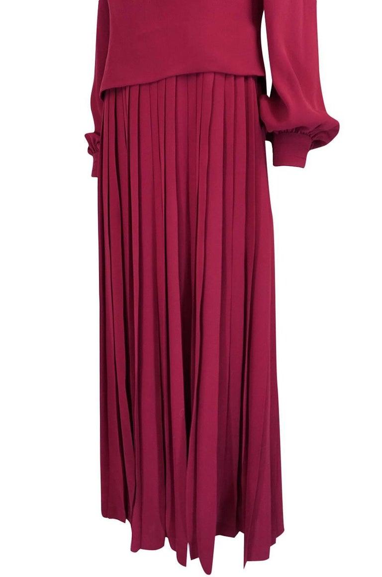 1970s Pierre Balmain Haute Couture Deep Red Silk Pleat Dress For Sale 4