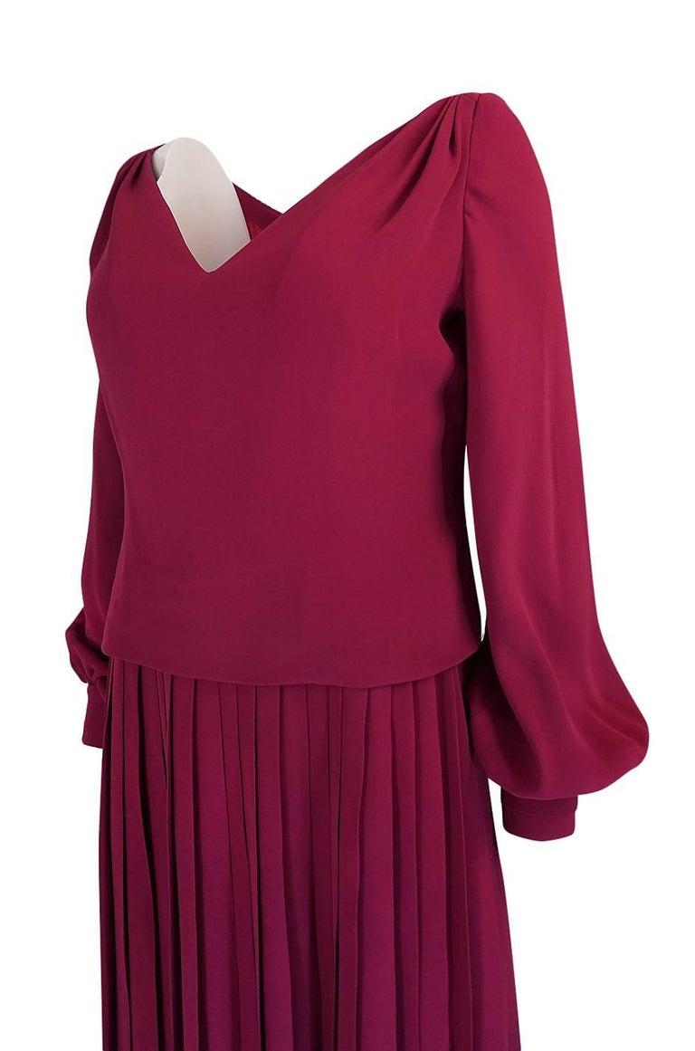 1970s Pierre Balmain Haute Couture Deep Red Silk Pleat Dress For Sale 2