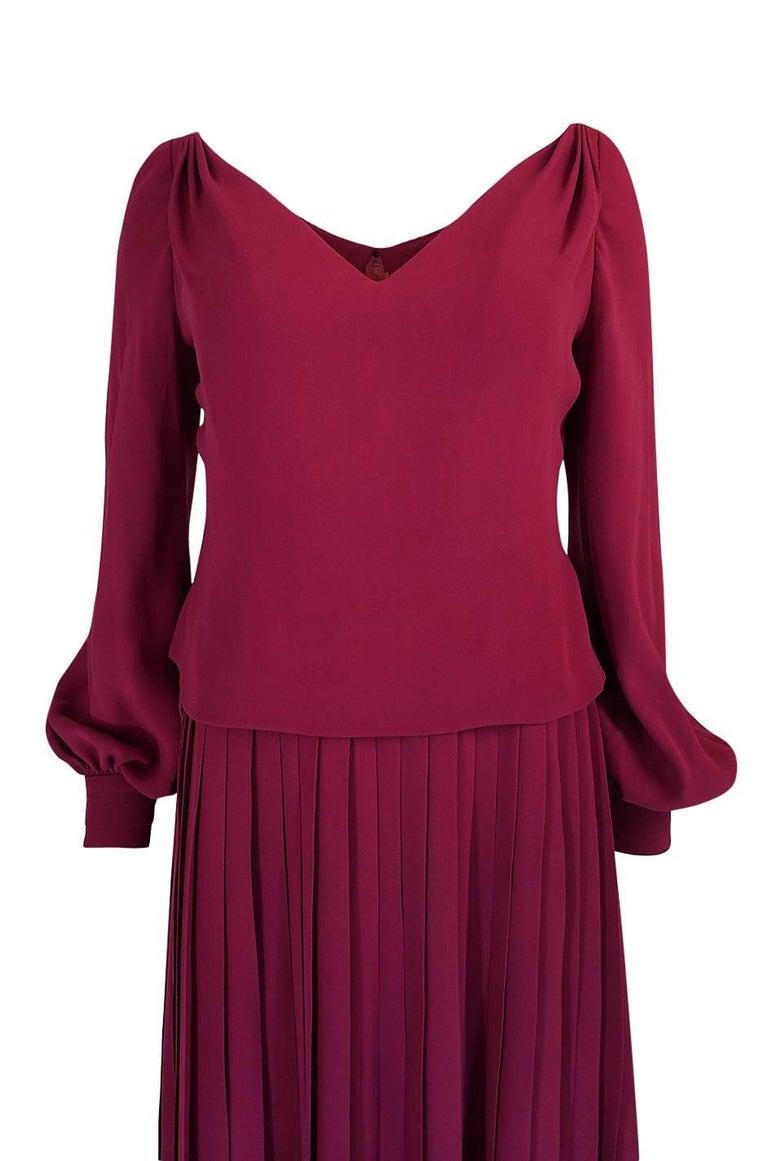 1970s Pierre Balmain Haute Couture Deep Red Silk Pleat Dress For Sale 1