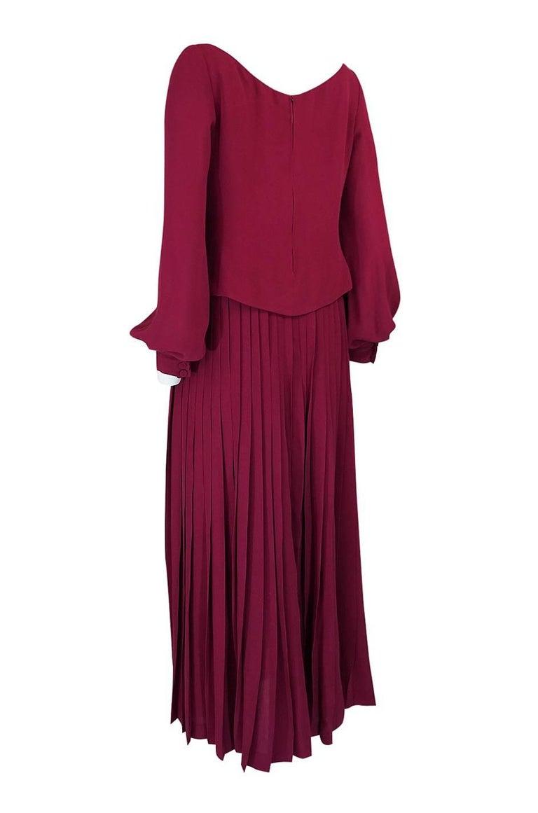 Women's 1970s Pierre Balmain Haute Couture Deep Red Silk Pleat Dress For Sale