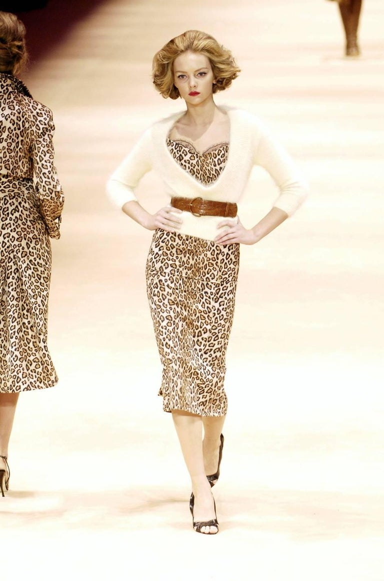F/W 2005 Alexander McQueen Runway Leopard Print Dress For Sale 5
