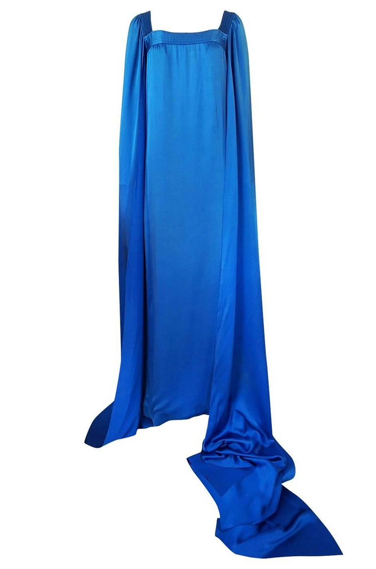 Blue Christian Dior by Marc Bohan Haute Couture Silk Angel Sleeve Dress, Fall 1978  For Sale