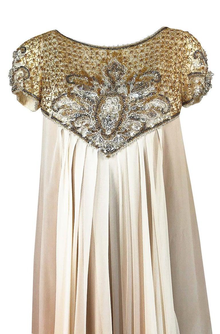 c.1958-1965 Helen Rose Hand Beaded Ivory Silk Chiffon & Gold Dress For Sale 2