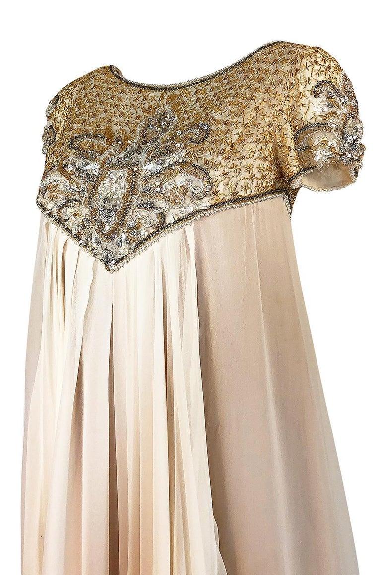 c.1958-1965 Helen Rose Hand Beaded Ivory Silk Chiffon & Gold Dress For Sale 3