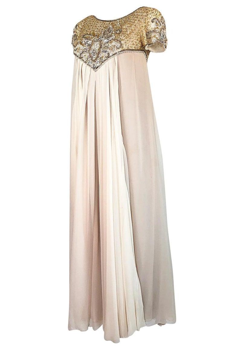 Women's c.1958-1965 Helen Rose Hand Beaded Ivory Silk Chiffon & Gold Dress For Sale