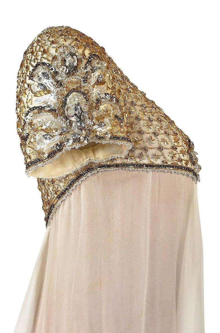 c.1958-1965 Helen Rose Hand Beaded Ivory Silk Chiffon & Gold Dress For Sale 5