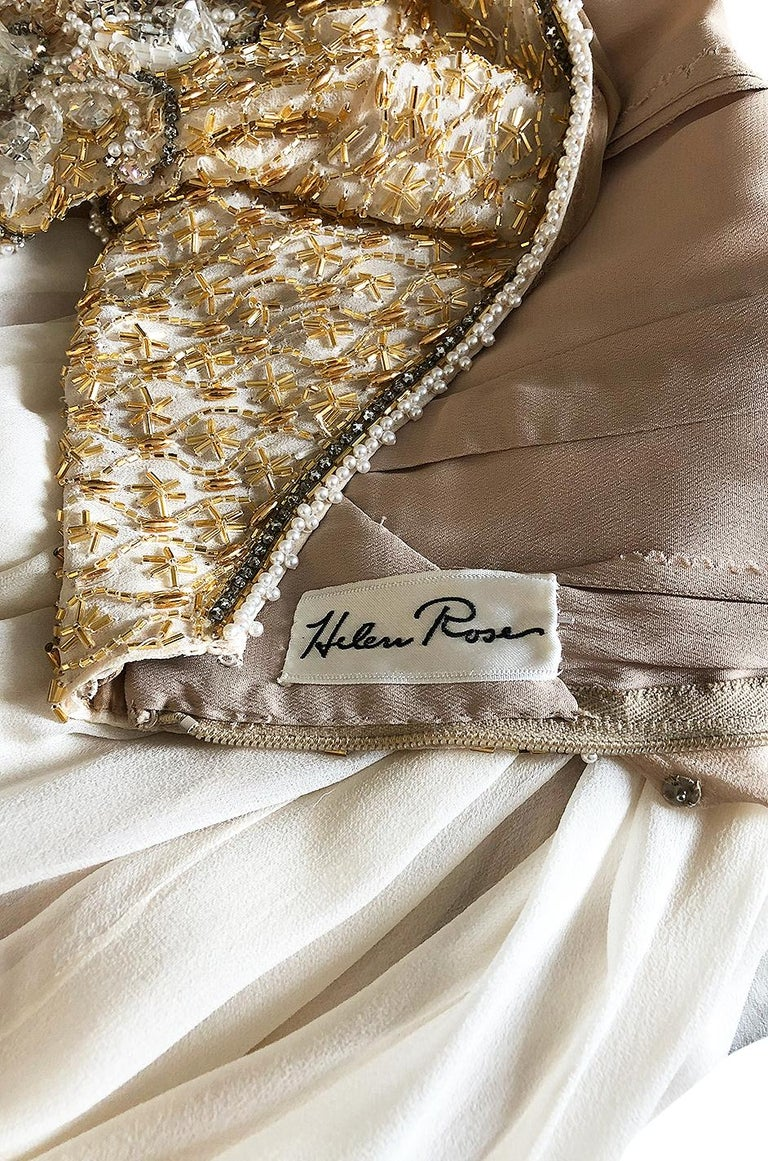 c.1958-1965 Helen Rose Hand Beaded Ivory Silk Chiffon & Gold Dress For Sale 7