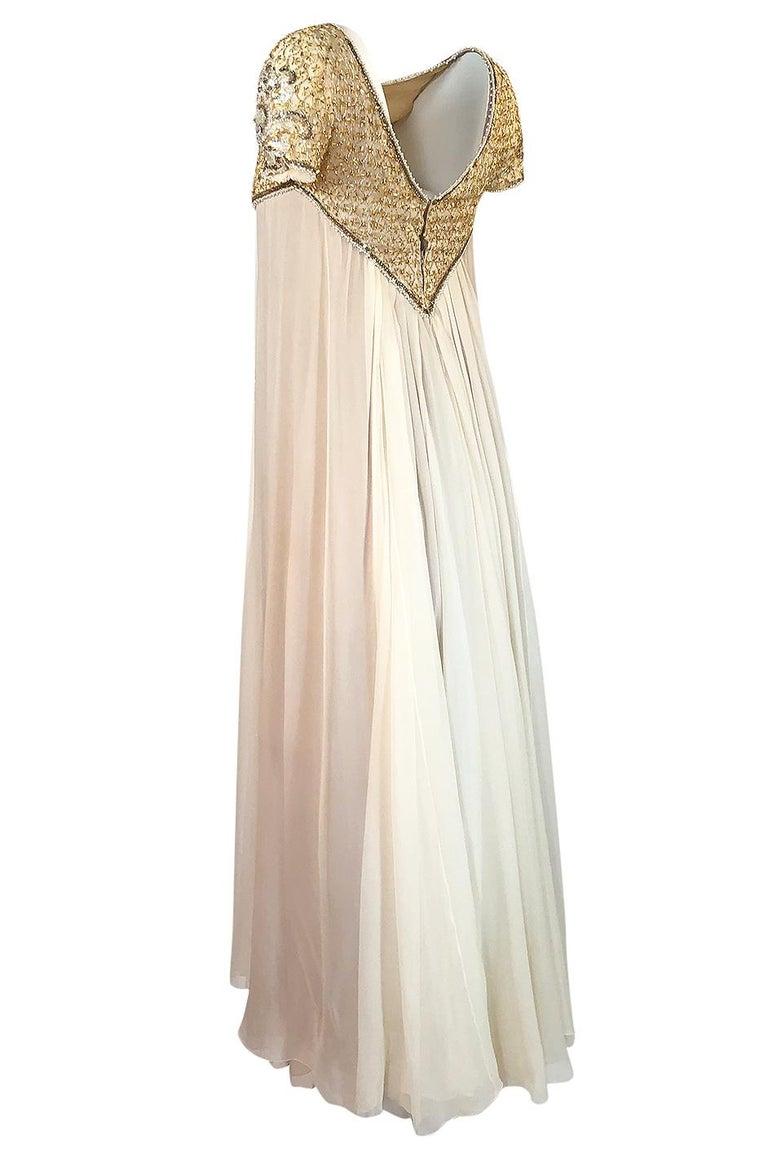c.1958-1965 Helen Rose Hand Beaded Ivory Silk Chiffon & Gold Dress For Sale 1