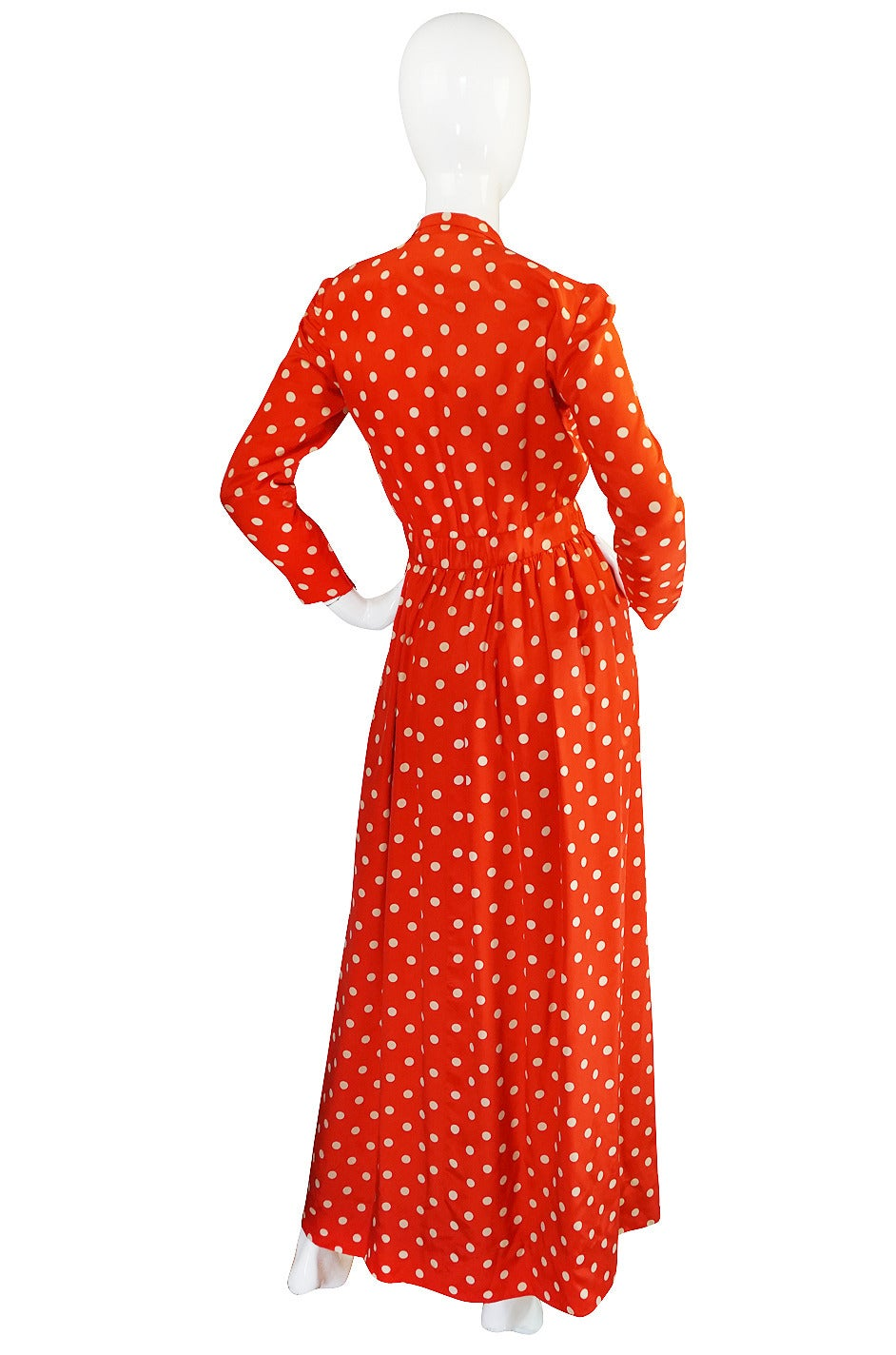 c1972-76 Norell Tassell Dotted Red Maxi Dress For Sale 1