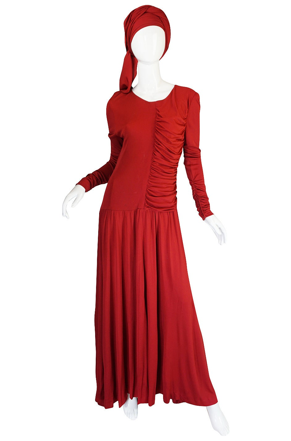 1980s Deep Red Silk Jersey Karl Lagerfeld Dress For Sale