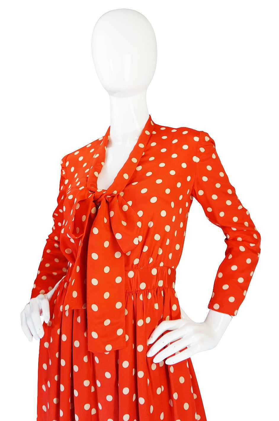 c1972-76 Norell Tassell Dotted Red Maxi Dress For Sale 2