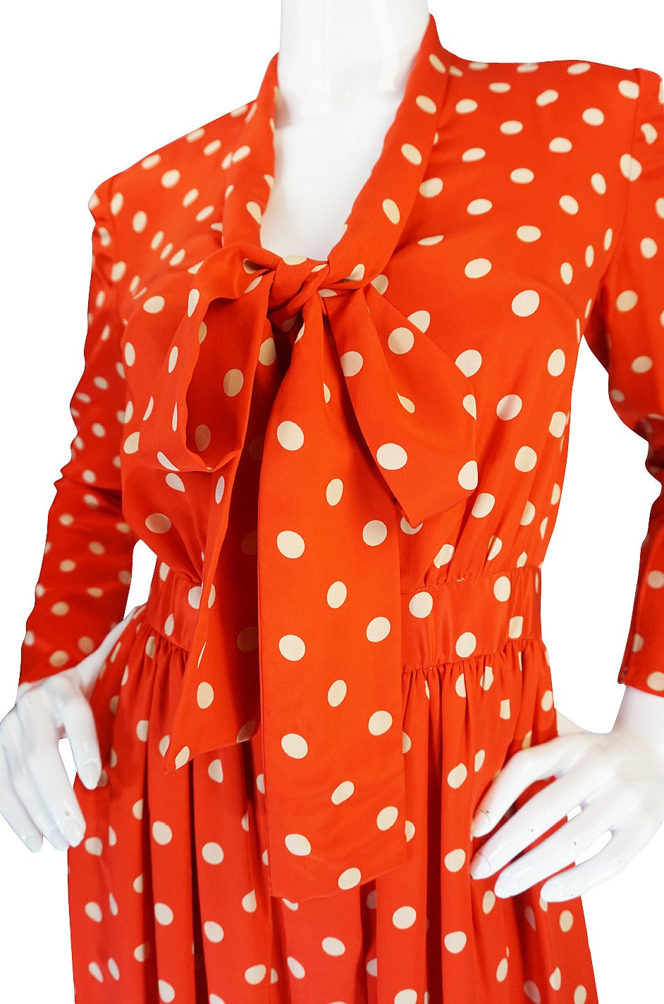 c1972-76 Norell Tassell Dotted Red Maxi Dress For Sale 3