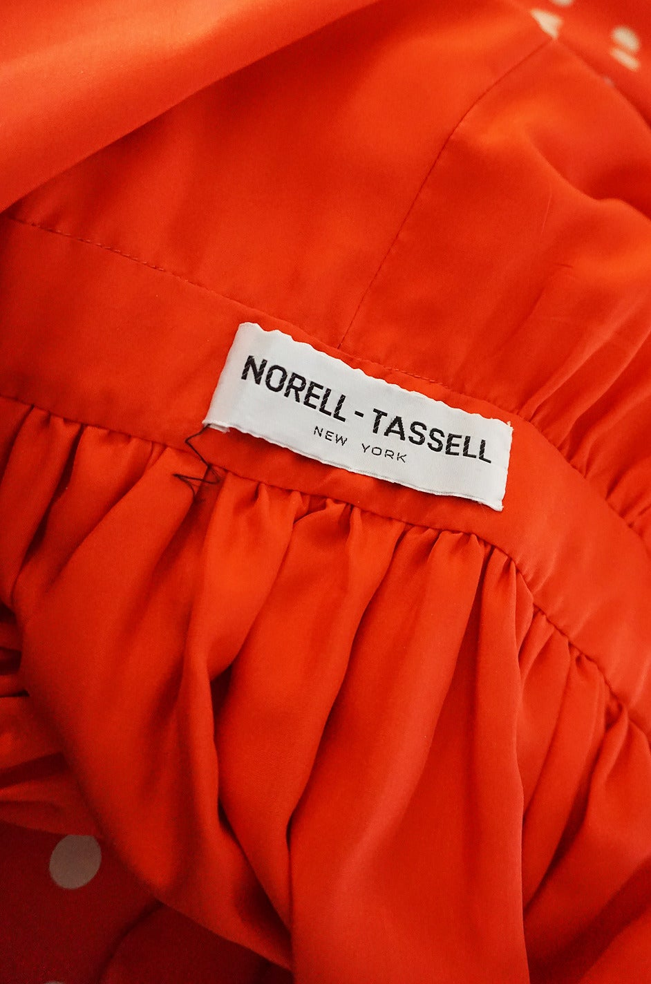 Women's c1972-76 Norell Tassell Dotted Red Maxi Dress For Sale