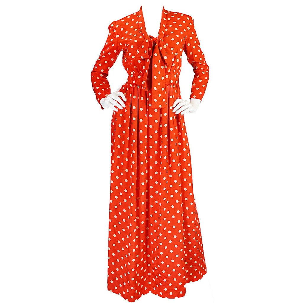 c1972-76 Norell Tassell Dotted Red Maxi Dress For Sale