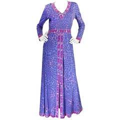 1970s Light Silk Jersey Lavender Bessi Maxi Dress