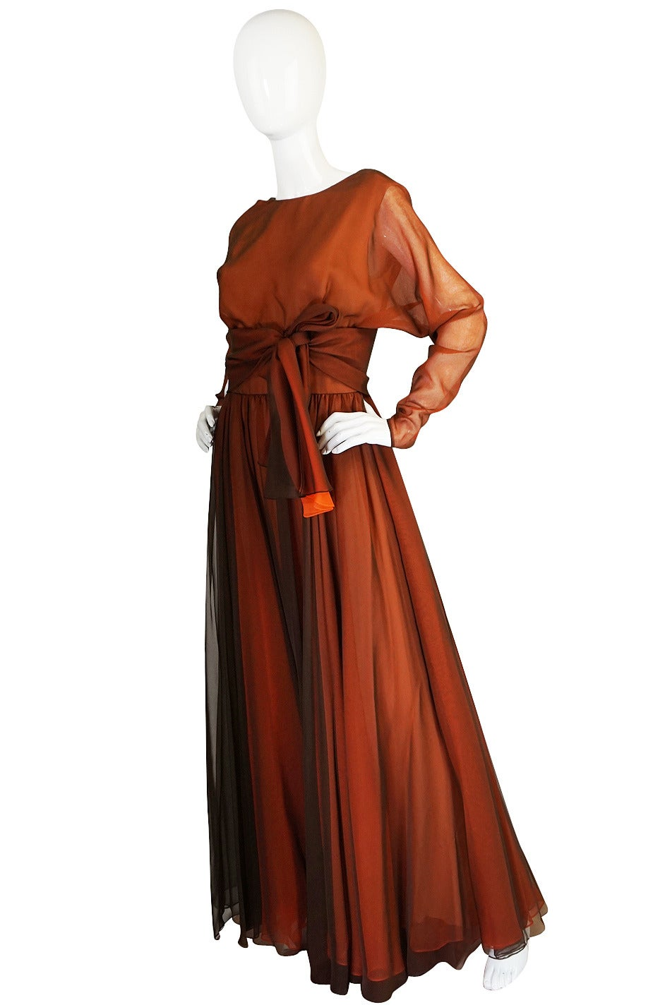 Brown 1960s Geoffrey Beene Boutique Backless Chiffon Dress For Sale