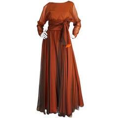 1960s Geoffrey Beene Boutique Backless Chiffon Dress