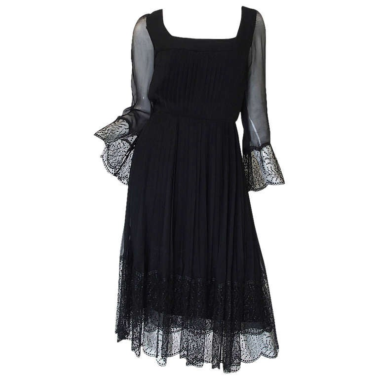 Rare 1960s Silk and Lace Jean Louis Dress For Sale
